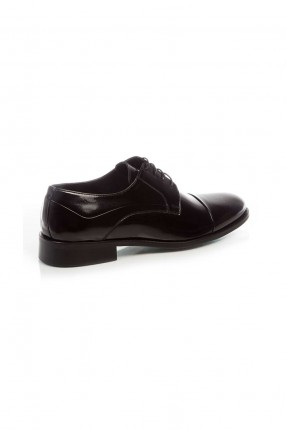 حذاء رجالي جلد مبوز من الامام - اسود