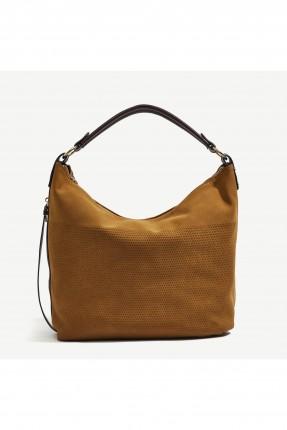 حقيبة يد نسائية بسحاب ذهبي من الجانب