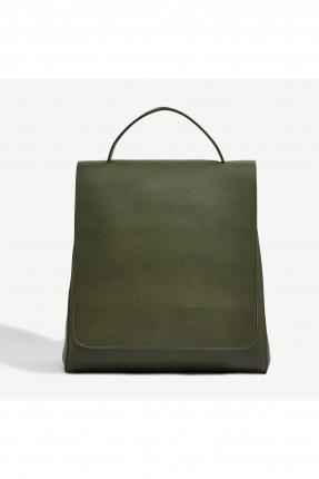 حقيبة نسائية سادة على الظهر - زيتي
