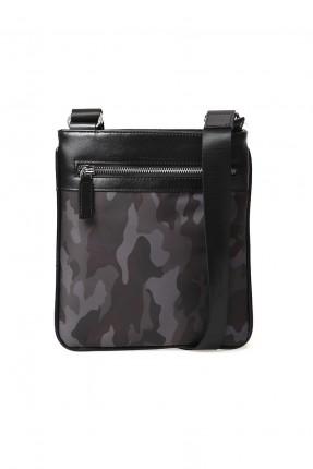 حقيبة يد رجالية جلد مموهة - اسود