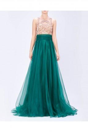 فستان مطرز من الاعلى شيفون من الاسفل - اخضر
