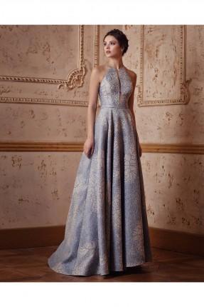 فستان نسائي حفر طويل منقوش رسمي - ازرق