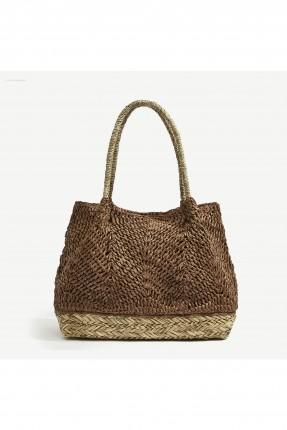 حقيبة يد نسائية موديل من القش - بني