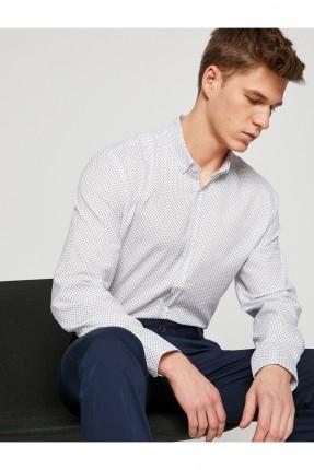 قميص رجالي منقط اكمام طويلة