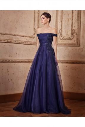 فستان عاري الاكتاف طويل شيفون - ازرق داكن