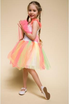 فستان اطفال بناتي دانتيل وتول ملون
