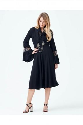 فستان نسائي مشرشب من الاكمام سبور - اسود
