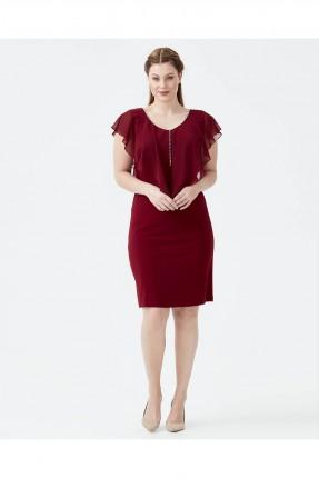 فستان نسائي مشرشب من الاعلى سبور  - خمري