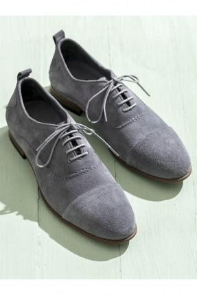 حذاء رجالي عريض من الامام - رمادي