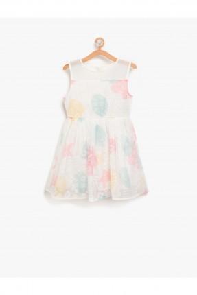 فستان اطفال بناتي حفر - ابيض