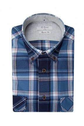 قميص رجالي كارو بجيب جانبي سبور - ازرق داكن