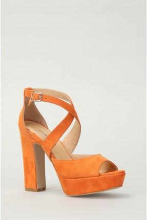 صندل نسائي بكعب عالي - برتقالي