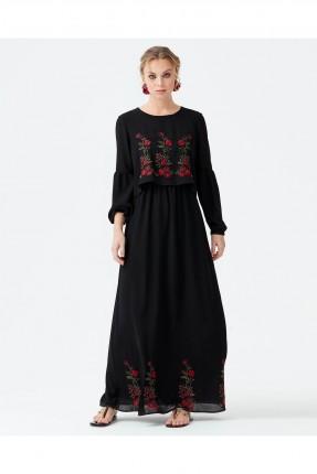 فستان نسائي طويل مطرز ورد سبور - اسود