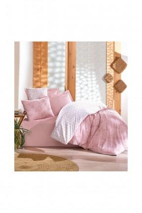 طقم سرير مفرد وردي / غطاء لحاف - شرشف - غطاء وسادة /