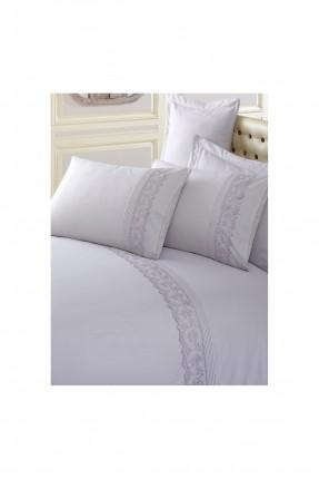 طقم غطاء سرير مزدوج بنقوش - رمادي