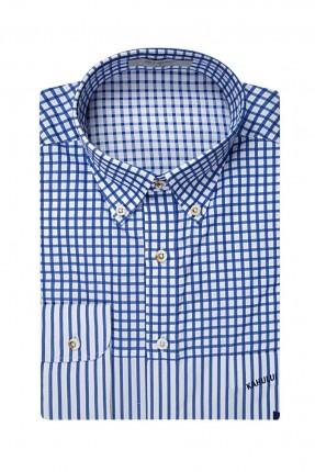 قميص رجالي مخطط ومقطع سبور - ازرق