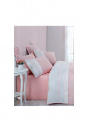 طقم غلاف سرير مزدوج دانتيل - وردي