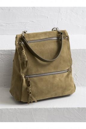 حقيبة ظهر نسائية بسحابين - زيتي