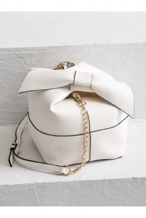 حقيبة يد نسائية مع عقدة - ابيض