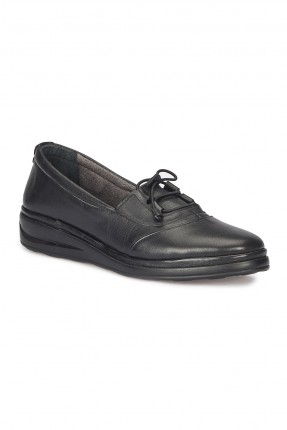 حذاء نسائي جلد مع ربطة - اسود