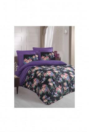طقم غلاف سرير مزدوج مورد - بنفسجي