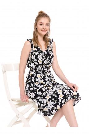 فستان سبور قصير مزهر مع كشكش
