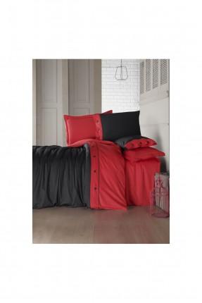طقم غطاء سرير مزدوج - احمر و اسود