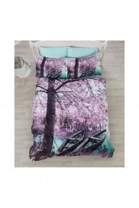 طقم غطاء سرير مزدوج - قماش ساتان