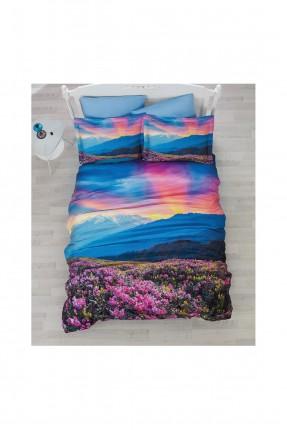 طقم غطاء سرير مزدوج بطبعة - قماش ساتان