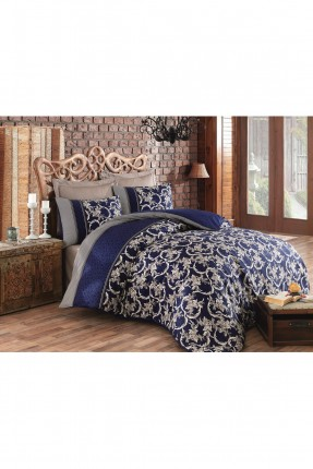 طقم غطاء سرير مزدوج كحلي - قماش ساتان