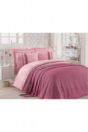 طقم غطاء سرير مزدوج مع بطانية دانتيل - وردي