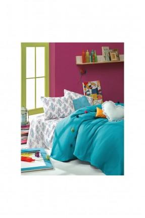طقم بطانية سرير مزدوج مع غطاء تركواز