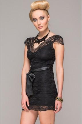 فستان رسمي دانتيل مع حزام ساتان - اسود