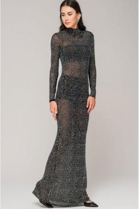 فستان رسمي مزين بستراس - اسود