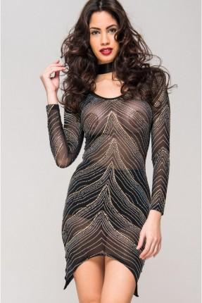 فستان لانجري مزين بستراس - اسود