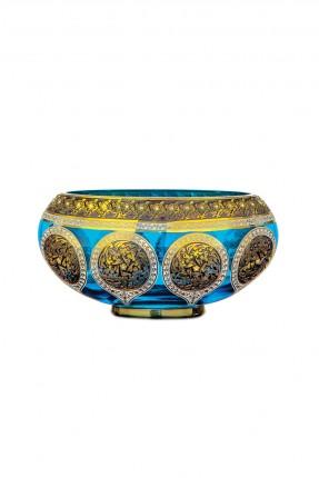 طبق زجاج عثماني - نقش ذهبي