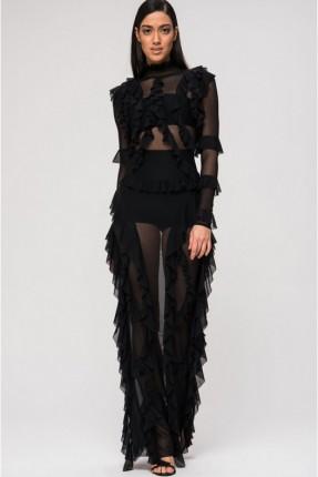 فستان لانجري شفاف مع كشكش - اسود