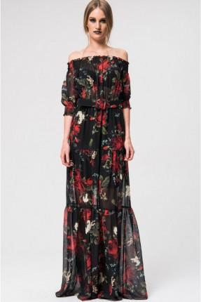 فستان سبور مع مطاط وحزام منقش بورد