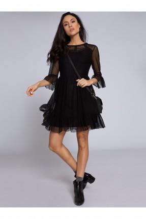 فستان رسمي كم قصير تول _ اسود