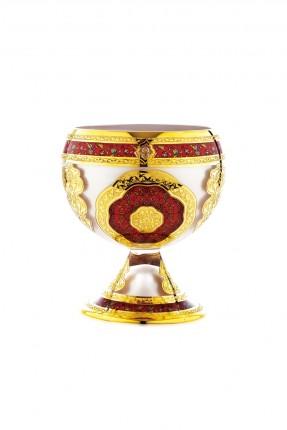 صمدية زجاج بقاعدة - نقش ذهبي