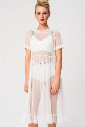 فستان لانجري شفاف مع كشكش - ابيض