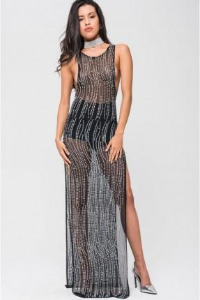 فستان لانجري شفاف مفتوح الجوانب - اسود