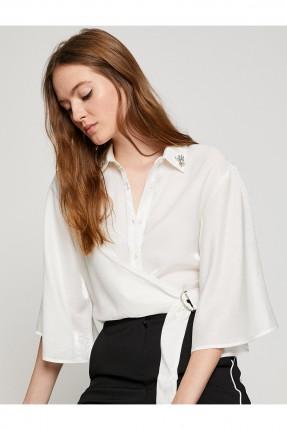 قميص نسائي ثلاثة ارباع الكم - ابيض