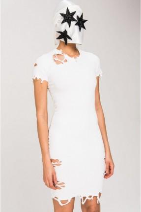 فستان سبور ممزق قصير - ابيض