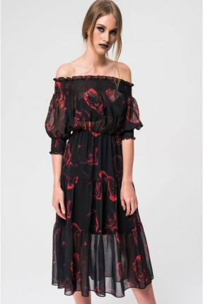 فستان سبور عاري الاكتاف منقش بورد