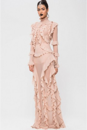 فستان لانجري شفاف مع كشكش