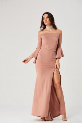 فستان رسمي طويل مع شق واكمام كشكش