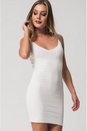 فستان سبور قطن - ابيض