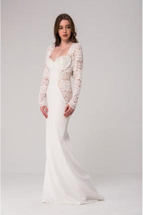 فستان زفاف مع دانتيل - ابيض