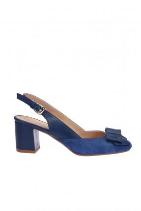 حذاء نسائي جلد بفيونكة من الامام - ازرق